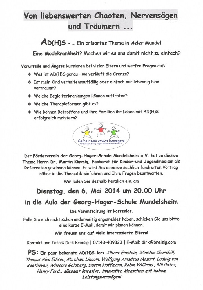 Einladung ADHS 06.05.2014