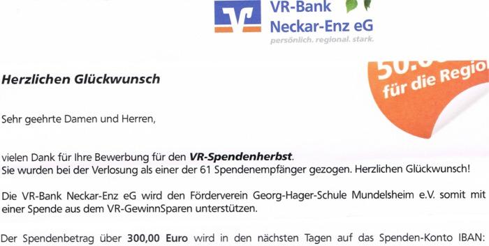 Spende VR-GewinnSparen 300 Euro web